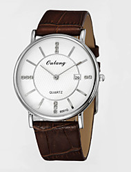 Men's Business Quartz Watches with Japanese Original Movement & Genuine Leather Strap Calendar Display Disk with Diamond