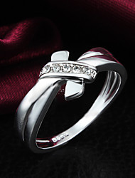 925 Silver Plated Party/Daily Elegant Bow Rhinestone Statement Rings 1pc
