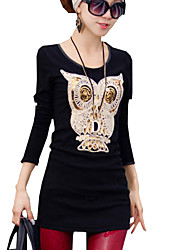 Waboats Women Slim Long Sleeve Velvet Owl Noble Tunic Shirt