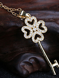 Alloy Jewelry Flower Key Pendant Necklace Gift Box Chain Necklace