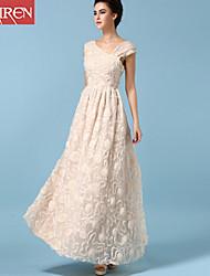 Muairen®Women'S Upscale Evening Dress Fashion V-Neck Slim Dimensional Flowers Gauze Dress