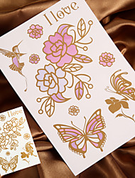 4PCS Gold Tattoo Metal Tattoo Flash Tattoo Temporary Tattoo Sticker Metallic Tattoo (Changing Color in Sunshine)