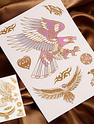 4PCS Metal Tattoo Gold Tattoo Flash Tattoo Temporary Tattoo Sticker Metallic Tattoo (Changing Color in Sunshine)