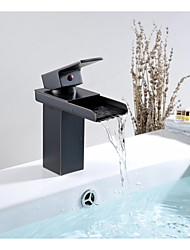 Aquafaucet Brass Oil Rubbed Bronze Waterfall Spout Bathroom Sink Vessel Faucet