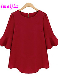 Women's Casual Micro-elastic ½ Length Sleeve Regular Blouse (Cotton)