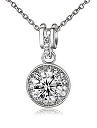 T&C Women's Elegant Bridal Jewelry 18k White Gold Plated 3.5ct Cubic Zirconia Stone Round Pendant Necklace