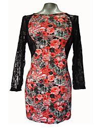 Women's Plus Size Party Dress Large Size Club Dress Stretchy Long Sleeve Above Knee Dress (Cotton/Spandex)