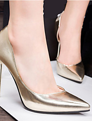 Women's Shoes Leatherette Low Heel Heels/Pointed Toe Pumps/Heels Casual Black/Silver/Gold