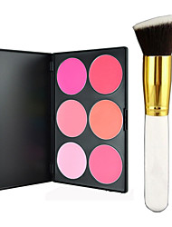 Pro Party 6 Colors Face Blush Blusher Powder Palette + Blush Brush