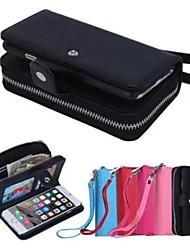 couro pu lichia projeto especial fissão grão zipper de vedação bolsa coldre iphone 6 (cores sortidas)
