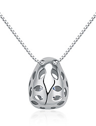 Jazlyn® Woman Authentic Platinum Plated 925 Sterling Silver Petals Hollow Necklace Pendant Valentine's Day Gift