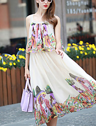 Women's Fashion Sequined Straps Chiffon Dress