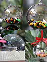 decorativo claro plástico acrílico fillable bola ornamento de suspensão 80 milímetros - pacote de 5