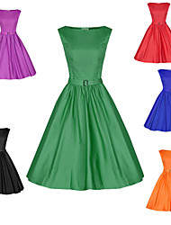 HHH Women's Casual/Party/Work Round Sleeveless Dresses (Cotton Blend/Polyester)