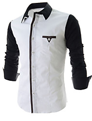 Camisa De los hombres Formal Mezcla de Algodón/Poliéster - Manga Larga
