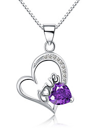 Jazlyn® Authentic Platinum Plated 925 Sterling Silver Heart Love Purple Crystal 1MM Box Chain Women's Necklace for Gift