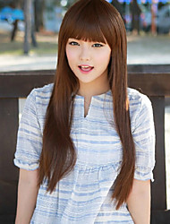 Japan and South Korea Fashion  Light Brown Qi Liu Hai Long Straight Hair Wig