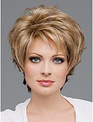 courts perruques synthétiques de cheveux droites pour les femmes coupe de lutin perruques naturelles avec une frange