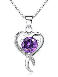 jazlyn® donna platinato 925 cuore croce in argento viola cubi collana pendente di zirconia per il regalo