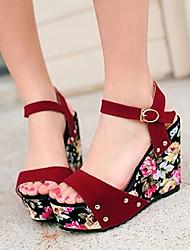 DOPO Women's Shoes Black/Red Wedge Heel 10-12cm Sandals