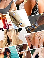 - Tattoo Aufkleber - Muster/Hawaiian/Waterproof - Schmuck Serie - für Damen/Herren/Erwachsener/Teen - Gold/Schwarz/Silber - Papier - 6