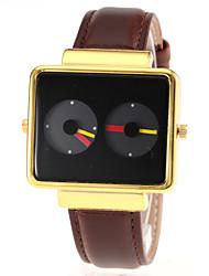 Men's Dual Time Display Black Square Dial PU Band Quartz Wrist Watch