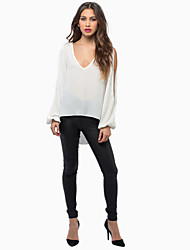 Women's Sexy Beach Casual Party V Neck Hollow out Back Long Sleeve Loose Blouse Chiffon Shirt