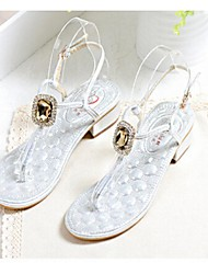 Women's Shoes Flat Heel T-Strap Sandals Casual Gray/Gold