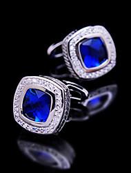 Toonykelly® Fashion Silver Plated Blue CZ Crystal Zircon Men Handsome Shirt Cufflink Button(1 Pair)