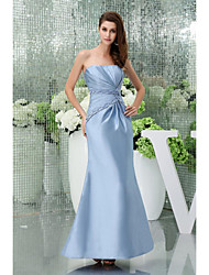 Formal Evening Dress - Sky Blue Petite Trumpet/Mermaid Strapless Floor-length Satin