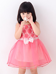 Girl's Summer Lace Stitching Sleeveless Dresses (Chiffon/Lace)