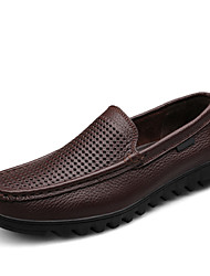 Men's Shoes Leather Casual Loafers Casual Slip-on Black / Brown