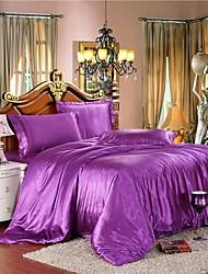Mingjie gelo congelado seda violeta cor lixar cama conjuntos 4pcs define capa de edredão queen size e king size