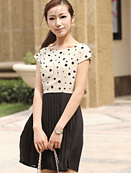 The quality of women's Summer Edition short wave stitching Chiffon Dress