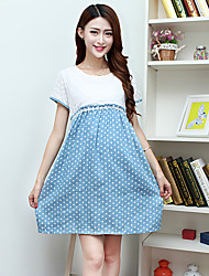 Maternity Sweet Polka-dots Patchwork Dress