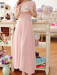 Women's Pink Dress , Casual Round Neck Sleeveless Button