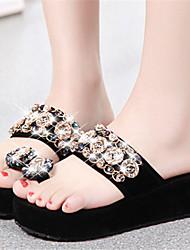 Women's Shoes Flat Heel Toe Ring Slippers Dress Black/White/Silver/Gold