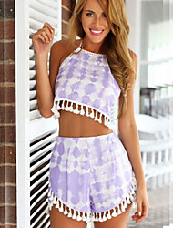 Women's Summer Free Halter Print Tassels  Sleeveless Suits(T-shirt&Shorts)