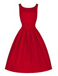 De las mujeres Corte Ancho Vestido Vintage Un Color Hasta la Rodilla Escote Redondo Lana / Algodón