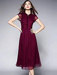 Women's V-Neck Dresses , Silk Work Short Sleeve SASA