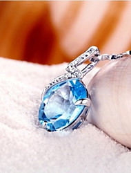 Volcano High-end Natural Topaz Stone 925 Silver Blue Crystal Pendant Necklace Female Model Noble Temperament SP0105B