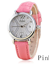 Round White Plate Waterproof Ladies Fashion Calendar Quartz Movement Watch Really Belt (Assorted Colors)