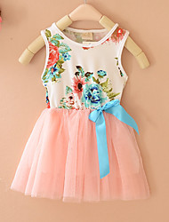 Baby Girls Sleeveless Kids Tulle Bow Floral Princess Tops Party Tutu Dresses (Cotton Blends)