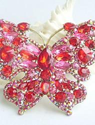 Women Accessories Gold-tone Red Pink Rhinestone Crystal Brooch Art Deco Butterfly Brooch Bouquet Women Jewelry