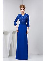Sheath/Column Petite Mother of the Bride Dress - Royal Blue Floor-length 3/4 Length Sleeve Chiffon / Satin