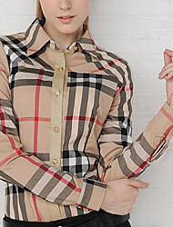 Women's Striped Yellow Shirt , Shirt Collar ½ Length Sleeve