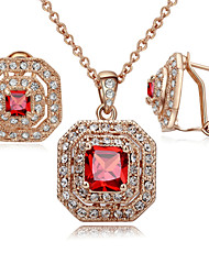 T&C Women's Bridal Ruby Jewelry Sets 18K Rose Gold Plated Red Square Cubic Zirconia Stone Pendant Necklace Earrings Sets