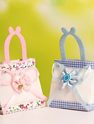 Nonwoven Fabric Portable Favor Gift Bags Wedding Candy Favor  Bags with Flower Bowknot Set of 12