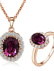 HKTC Elegant Cz Diamond Jewelry Sets 18k Rose Gold Pated Amethyst Purple Crystal Ring and Necklaces Sets