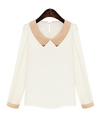 Women's Solid White Blouse , Shirt Collar Long Sleeve
